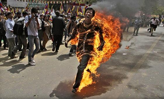 Tumblr -Tibetan youth burns in Delhi