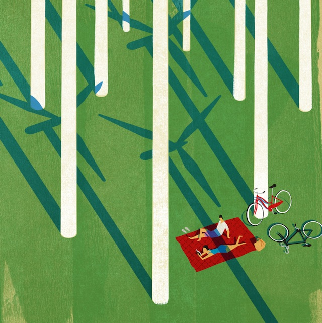 Velorution - Drawing, Keith Negley, Sunbathing with windmills