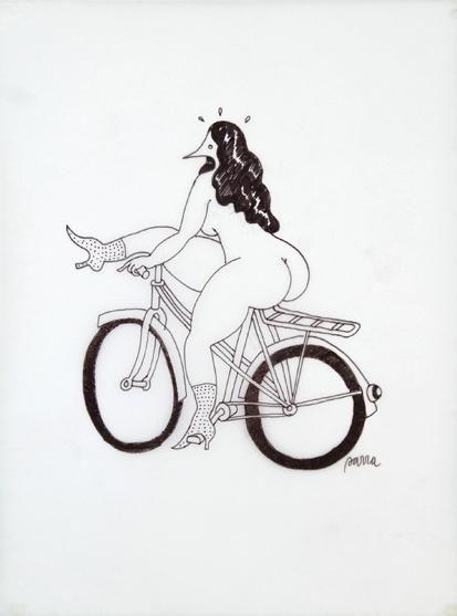 Velorution - Drawing, Parra girl dismounting