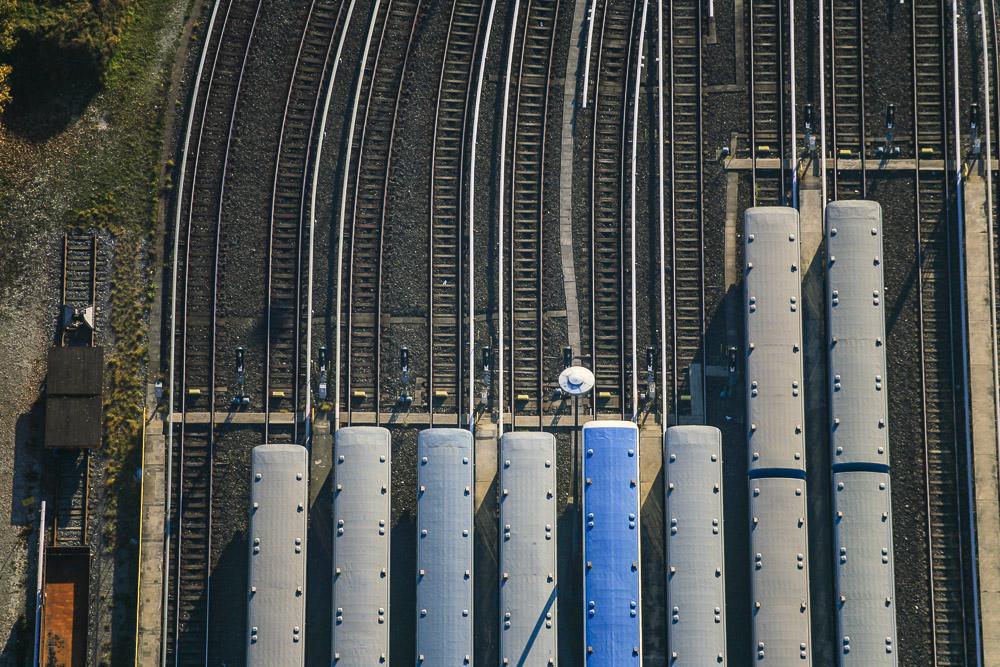 Luftbild von der U-Bahn in München-Fröttmaning