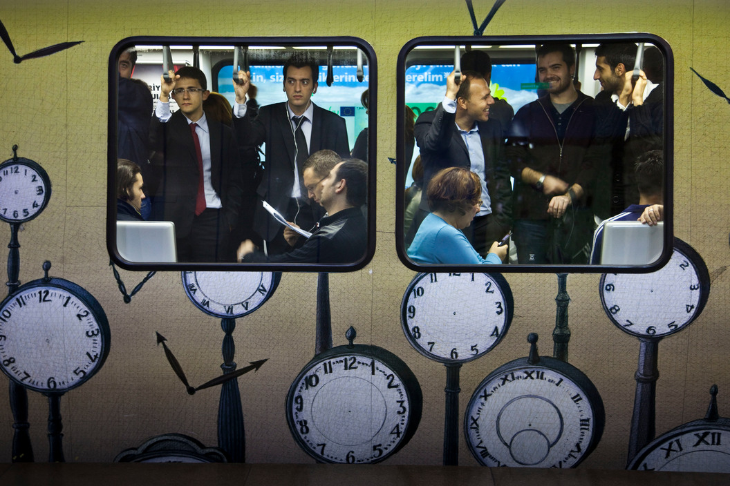 TURKEY. Istanbul. Subway. Gayrettepe, Working class from the financial region.